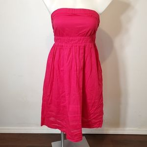 Anthro Maeve Strapless Hot Pink Dress